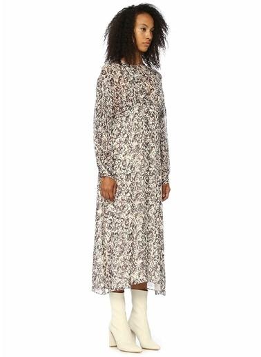IRO Karışık Desenli Maxi Elbise Siyah